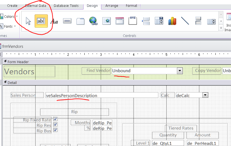 Form in design view