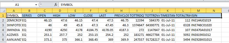 13 column data