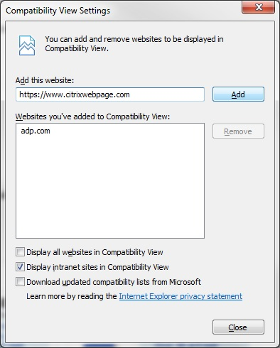 Screenshot of Compatibility View Settings window