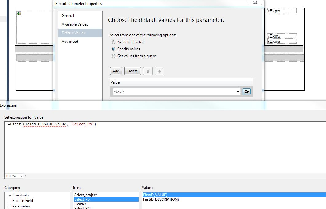 ssrs Fields cannot be used in report parameter expressions