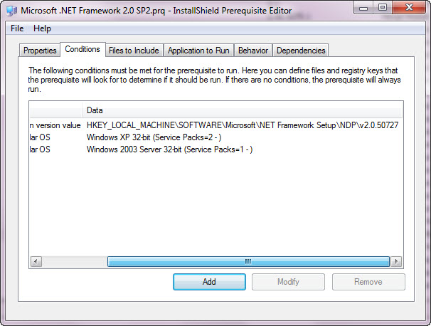 Installshield Prerequisite: .NET 2.0 Framework Installation Conditions