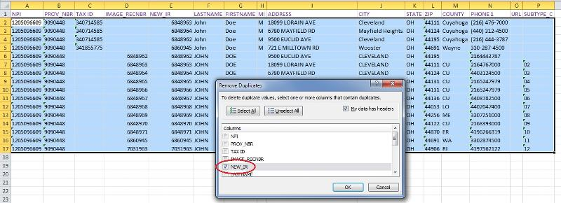 remove duplicate IR rows