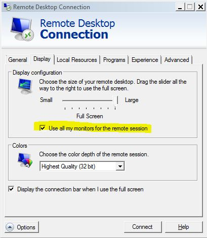 Monitor Selection Option in MSTSC