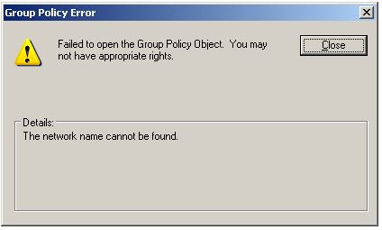 error i get when trying to edit a policy