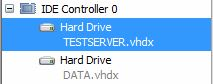 IDE Controller 0 on Hyper-v guest has two hard drives assigned.