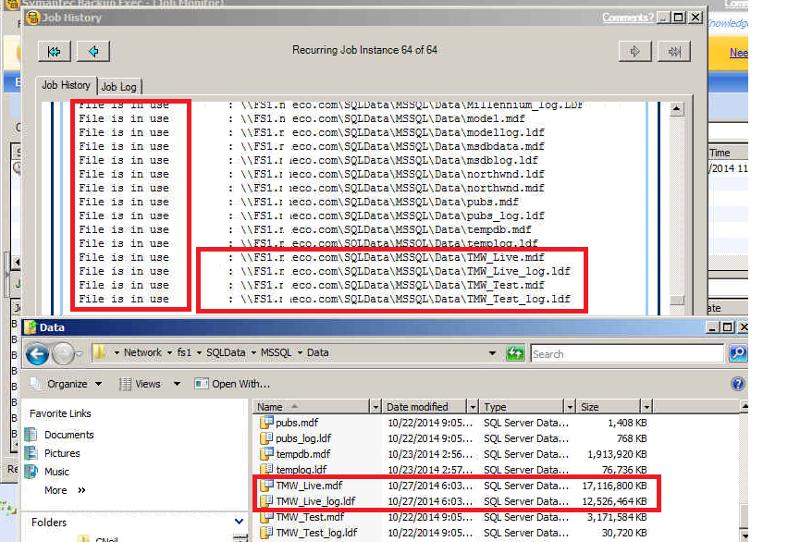 Backup Job History and SQL Data Folder