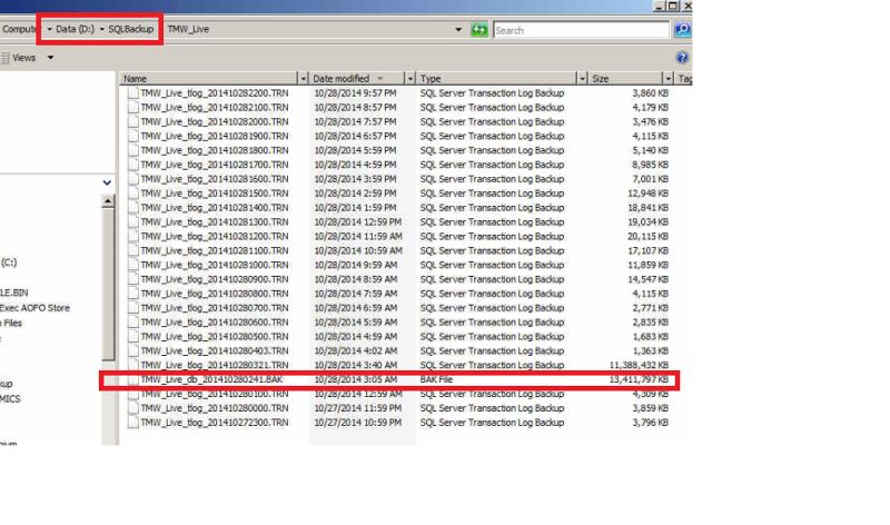 SQL Database Backup Folder