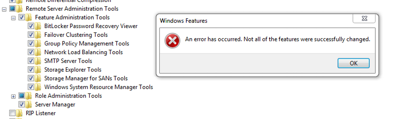 Installing Group Policy Management Tools via GUI ERROR