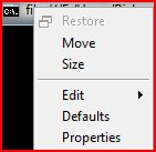 Close, Minimize and Maximize options do not appear on the menu either.