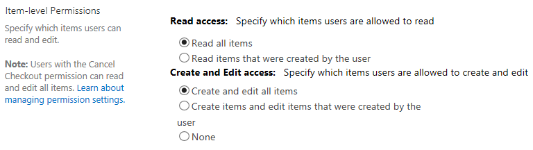 Item Level Permissions SharePoint List