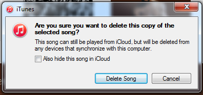 Confirmation dialog for deleting track from iTunes