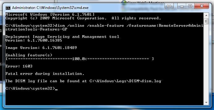 DISM install GPMC fails fatal error 1603