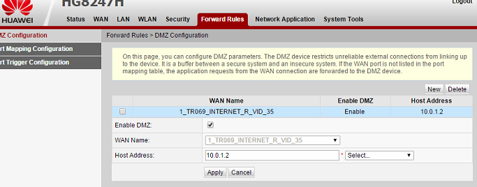 dmz on the huawei modem
