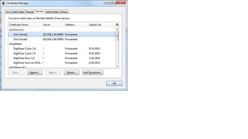 Firefox security certificate list
