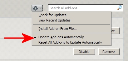 about:addons page > drop-down set to auto-update extensions