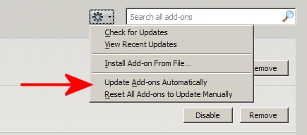 about:addons page > drop-down > extensions will not be automatically updated