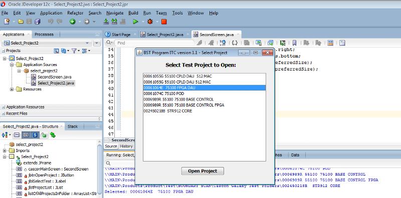 JFrame for selection running (Main) in JDeveloper IDE
