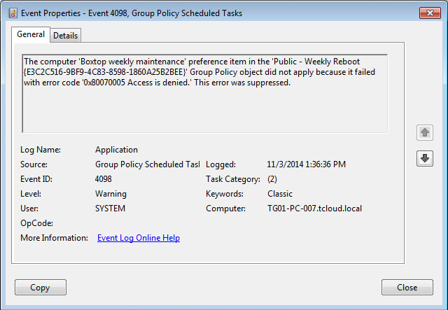 Deploy scheduled task with group policy - Access denied
