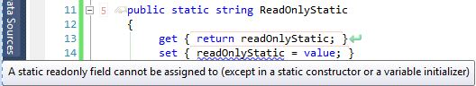 Read-Only static error
