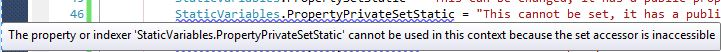 Property private set static error