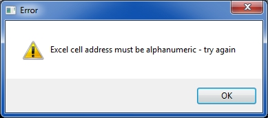 Excel cell not alphanumeric