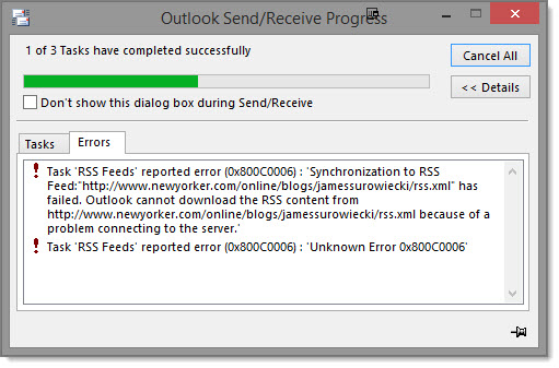 Send Receive RSS Error