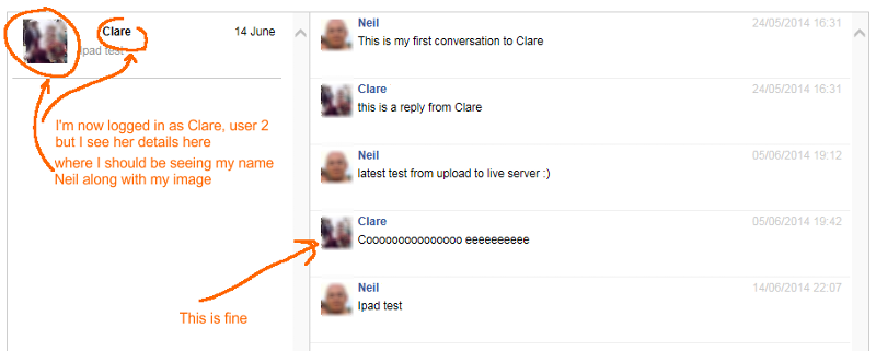 Here, when logged in as user 2 Clare I see her name and image, it should show my name and image (user 1 Neil)