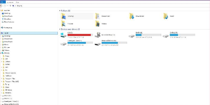 "Screen Capture of Windows Explorer ""This PC"""
