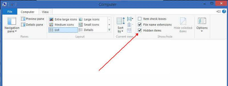 W8 file explorer show hidden items