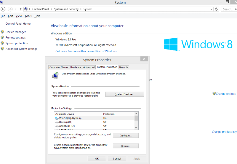 Advanced system settings in Windows 8.x