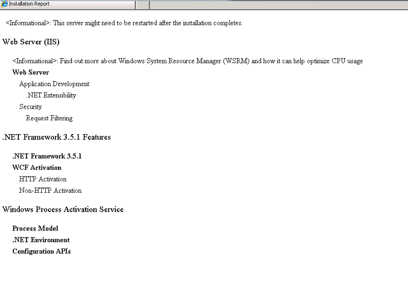 list of what will be installed with dot net 3.5 in the features menu
