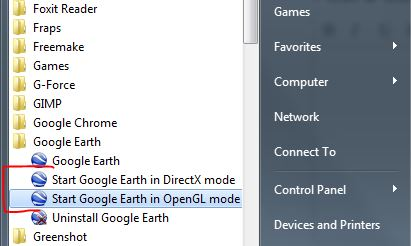 Google Earth DX mode and open GL mode