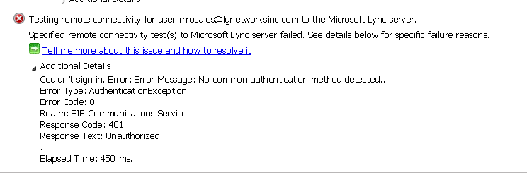 I get this error when i use the Microsoft remote analyzer