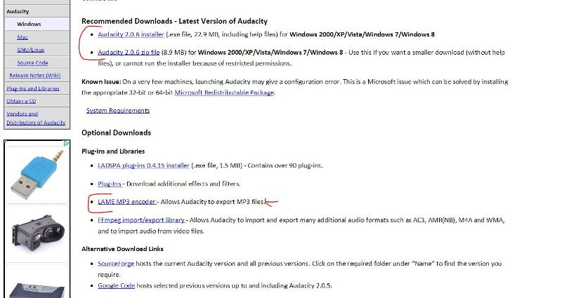 download Audacity and Lame dll