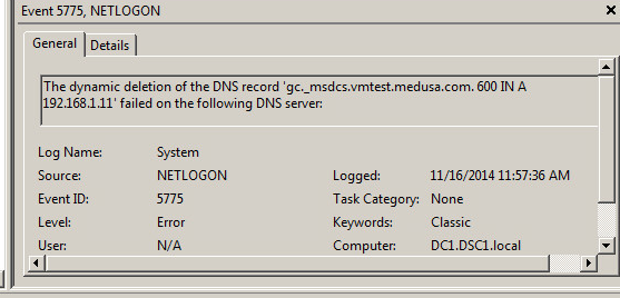 a domain that no longer exists , showing up in event viewer
