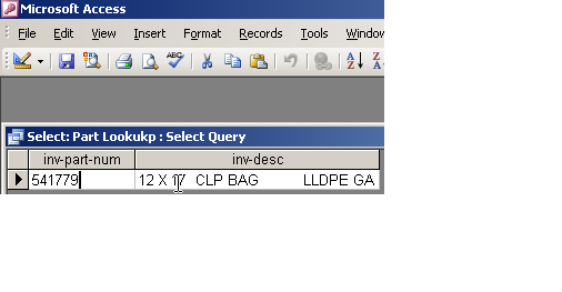 ACCESS query result