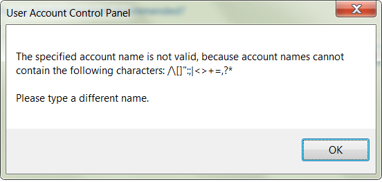 Control Panel - User Accounts