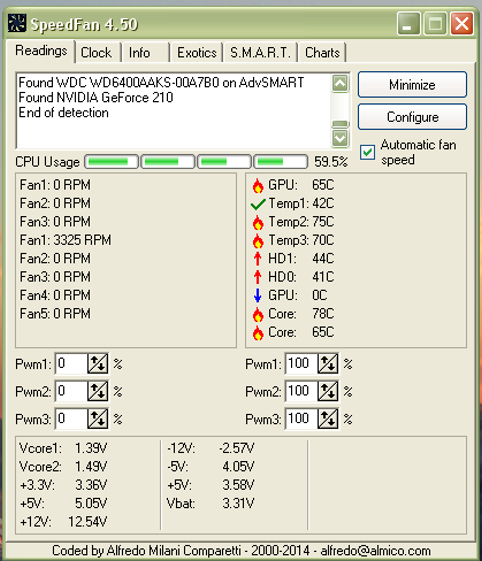 SpeedFan readings of my computer 2014-11-20