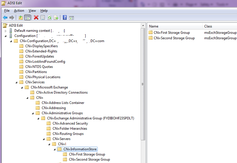 ADSIEDIT console showing Exchange objects