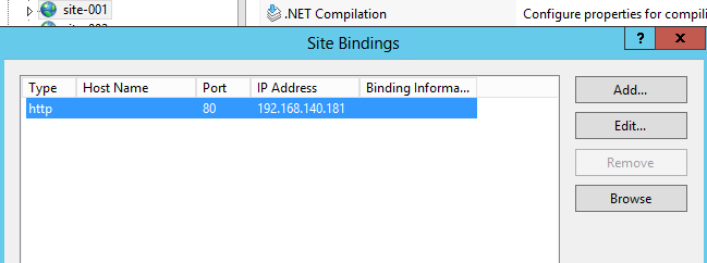 Example of binding an IP address to a website in IIS