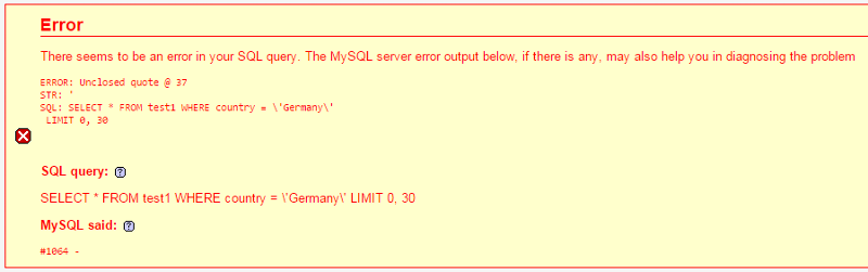 Error message