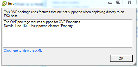 VMware OVF Package Won't Install