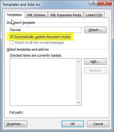 Templates and Add-Ins dialog