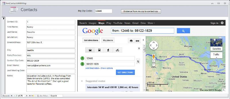 Google map distance on Access form