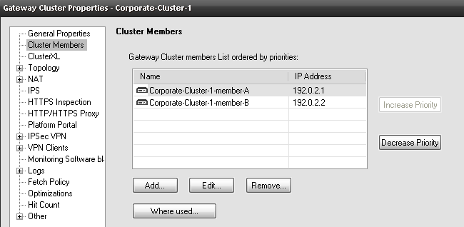 Cluster priority