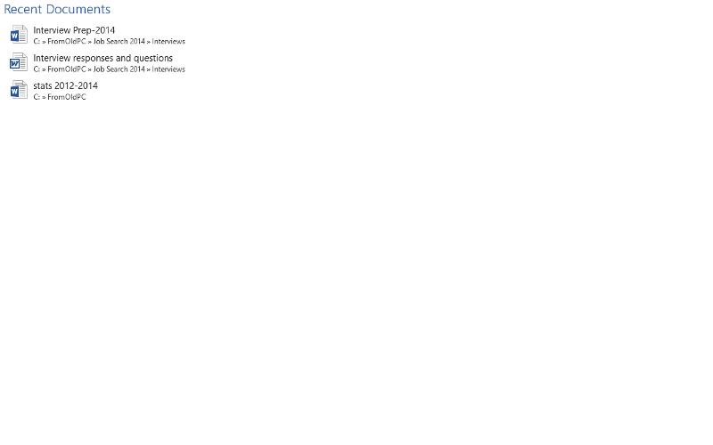 Screenshot of Word 2013 recent file list