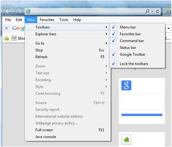 IE view toolbars