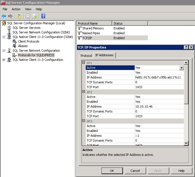SQL 2014 server express settings 2