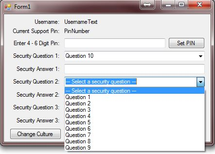 Question 10 selected for security question 1, when showing the options for security question 2, option for Question 10 no longer shows.