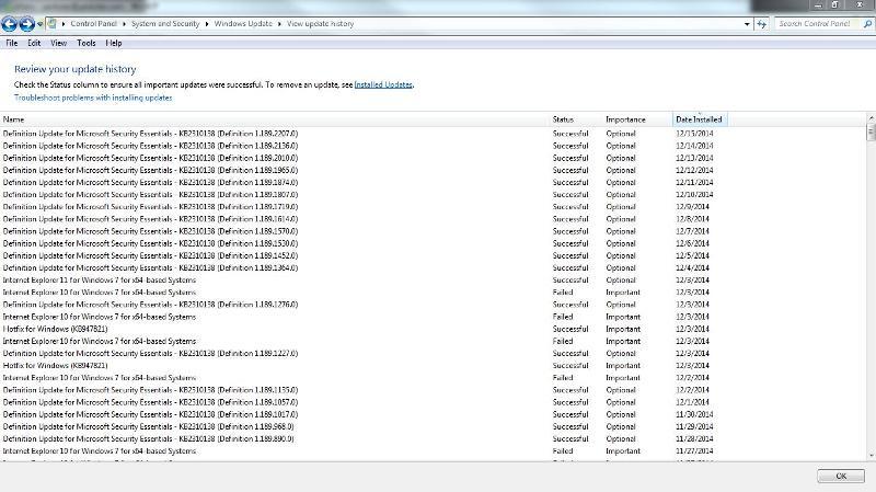 windows update history as of dec 16